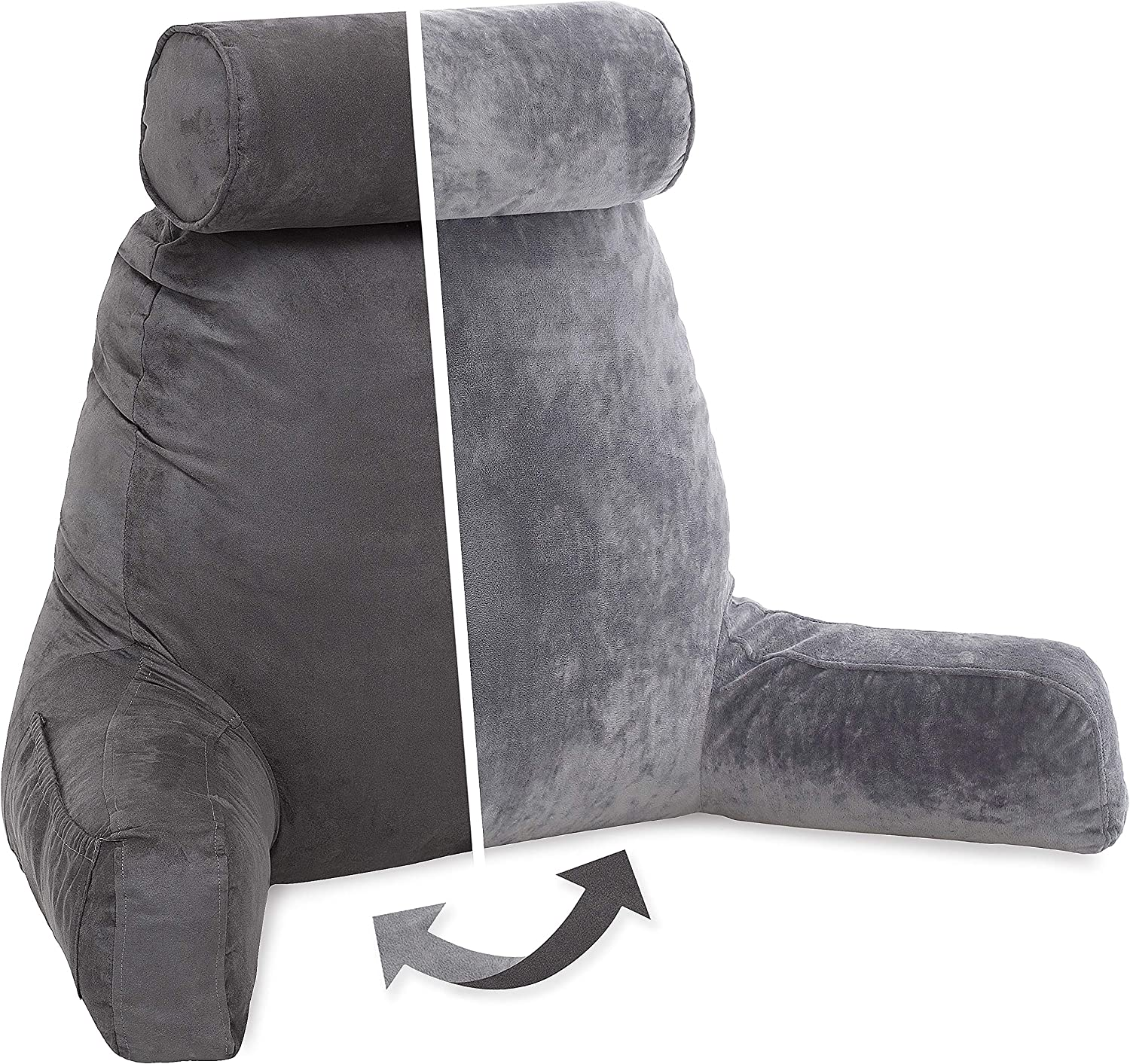 Husband Pillow, Aspen Edition - Reading and Bed Rest Pillow with Arms - Neck Roll on Bungee Cord or Removable - Premium Memory Foam - Reversible Two-Sided Cover Microsuede or Microfiber, Iron Grey: Home & Kitchen