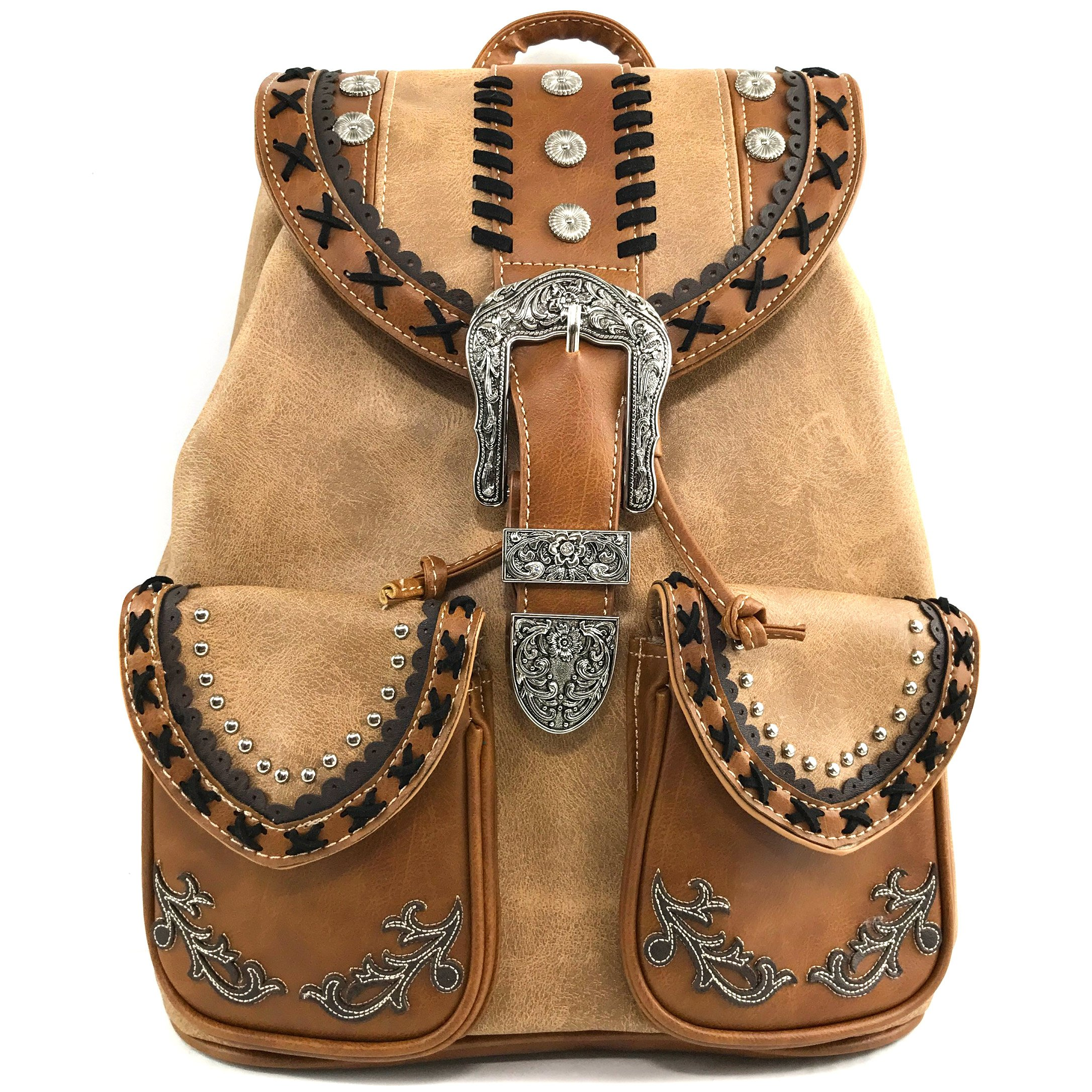 Justin West Trendy Western Rhinestone Leather Conceal Carry Top Handle Backpack Purse (Western Khaki)