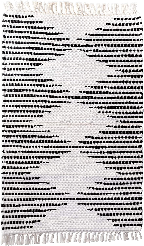 Kent & West - Accent Rug   Handwoven   Natural Cotton   Black Pattern   Fringed Ends   23