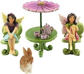 Pretmanns Fairy Garden Accessories – Kit with Miniature Fairy Garden Fairies – 9 Piece Figurine & Furniture Set – Fairy Garden Supplies