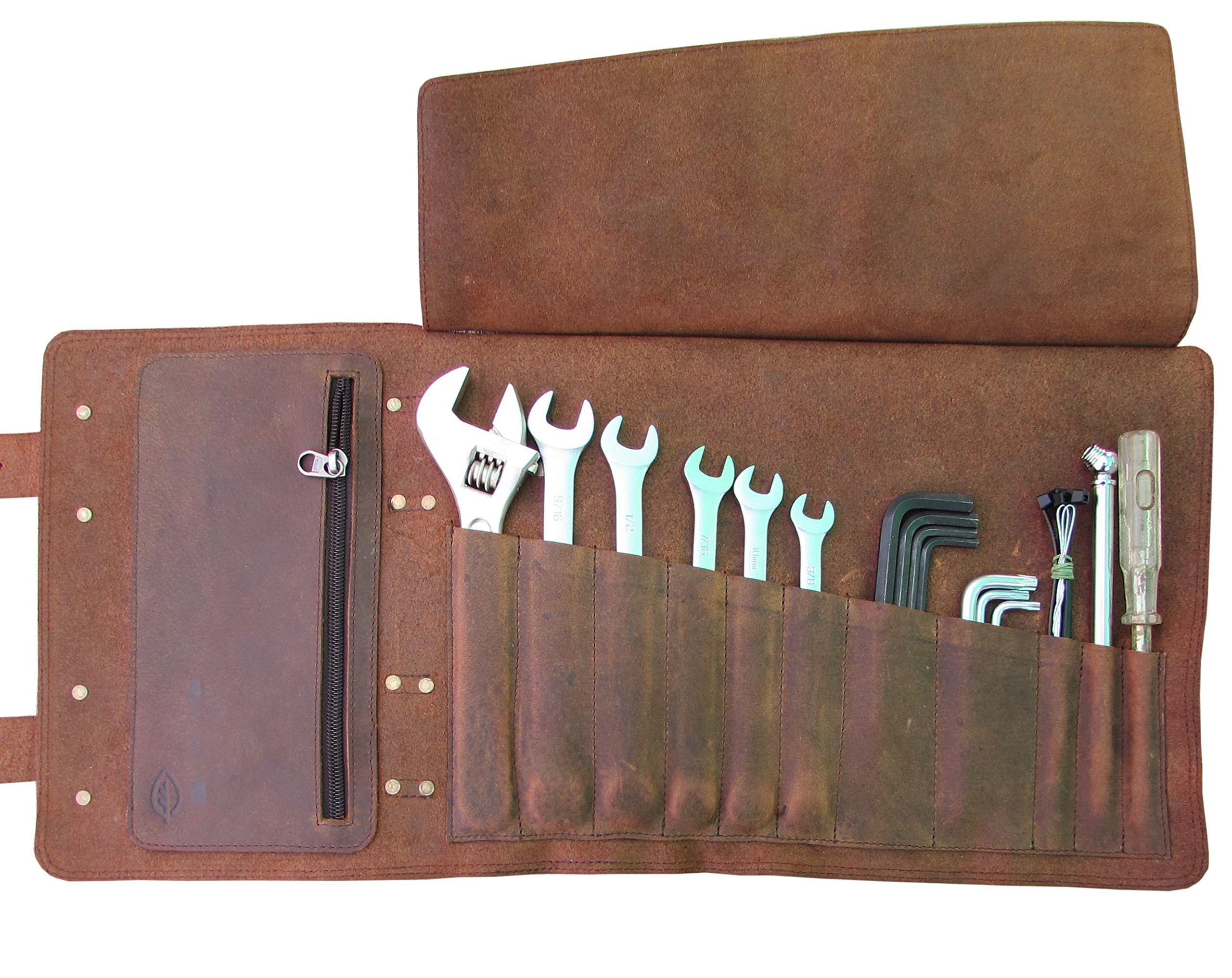 Tool Roll and Bike Bag for Harley Triumph Enfield or Workshop from One Leaf (Brass Hardware)
