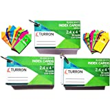 TURRON Small (2.4 x 4 inch) Binding Ringed (Detachable) Blank White Index Flash Cards (54 Cards per Set, 220 GSM) (Set of 3)