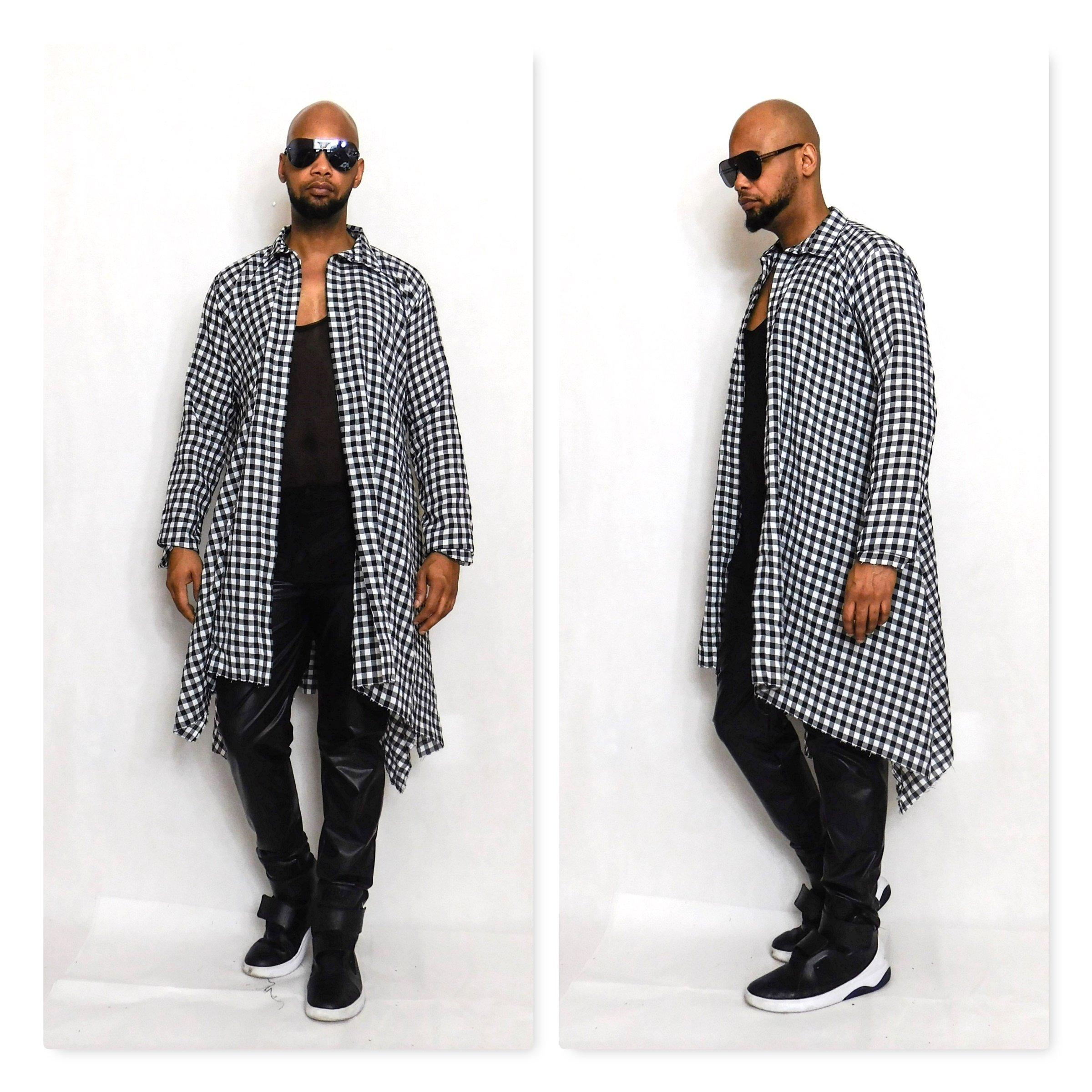 Draped Oversized Black and White Long-Sleeve Check Flannel Shirt With Draped Hem Inspired by Dsqaured Cotton Flannel Buttondown Active