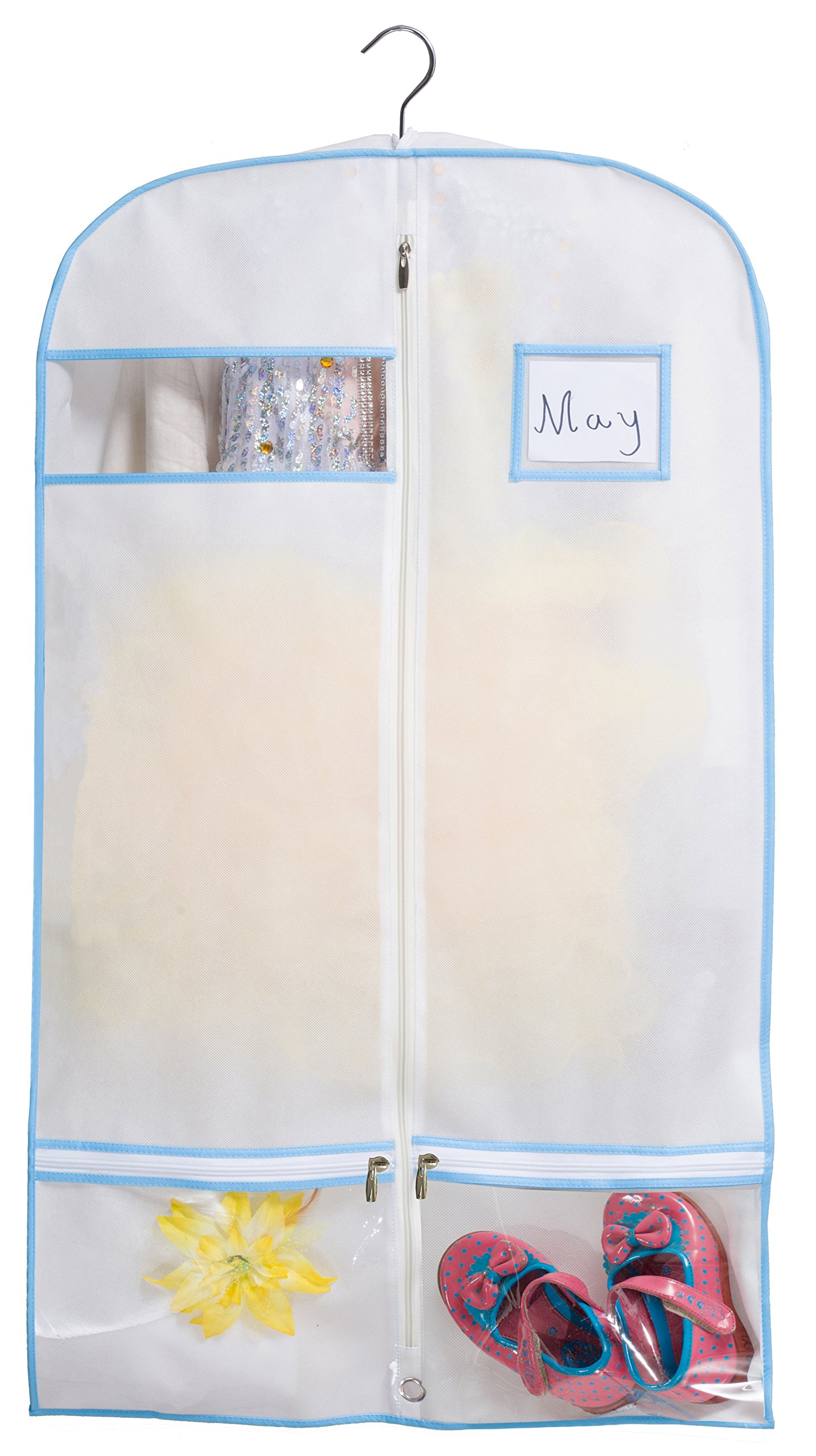 Kimbora 40'' Travel Dance/Dress Costume Garment Bag with Clear Accessories Zipper Pockets Suit Garment Cover (White) by KIMBORA (Image #2)