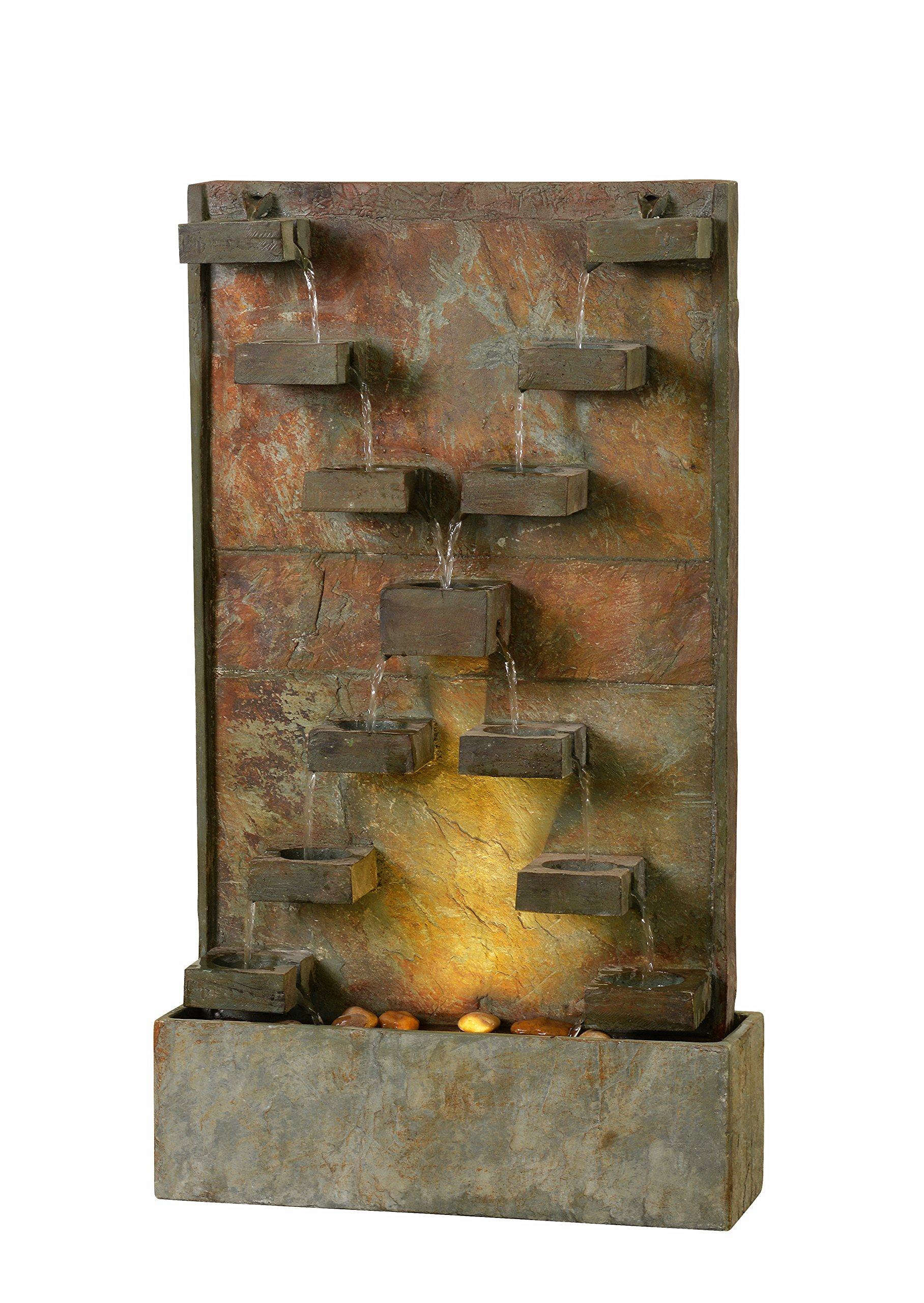 Kenroy Home 51033SL Voyage Indoor/Outdoor Floor Fountain with Light, 33 Inch Height Natural Slate