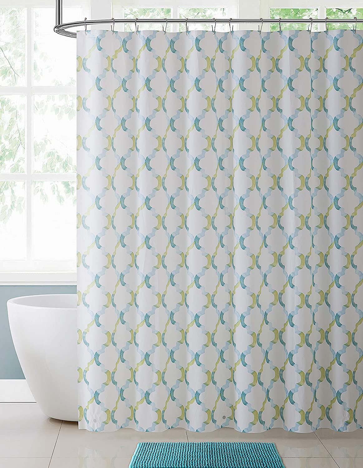 Floral Geometric Patterned VCNY Home Teal Blue Gray Beige Fabric Shower Curtain