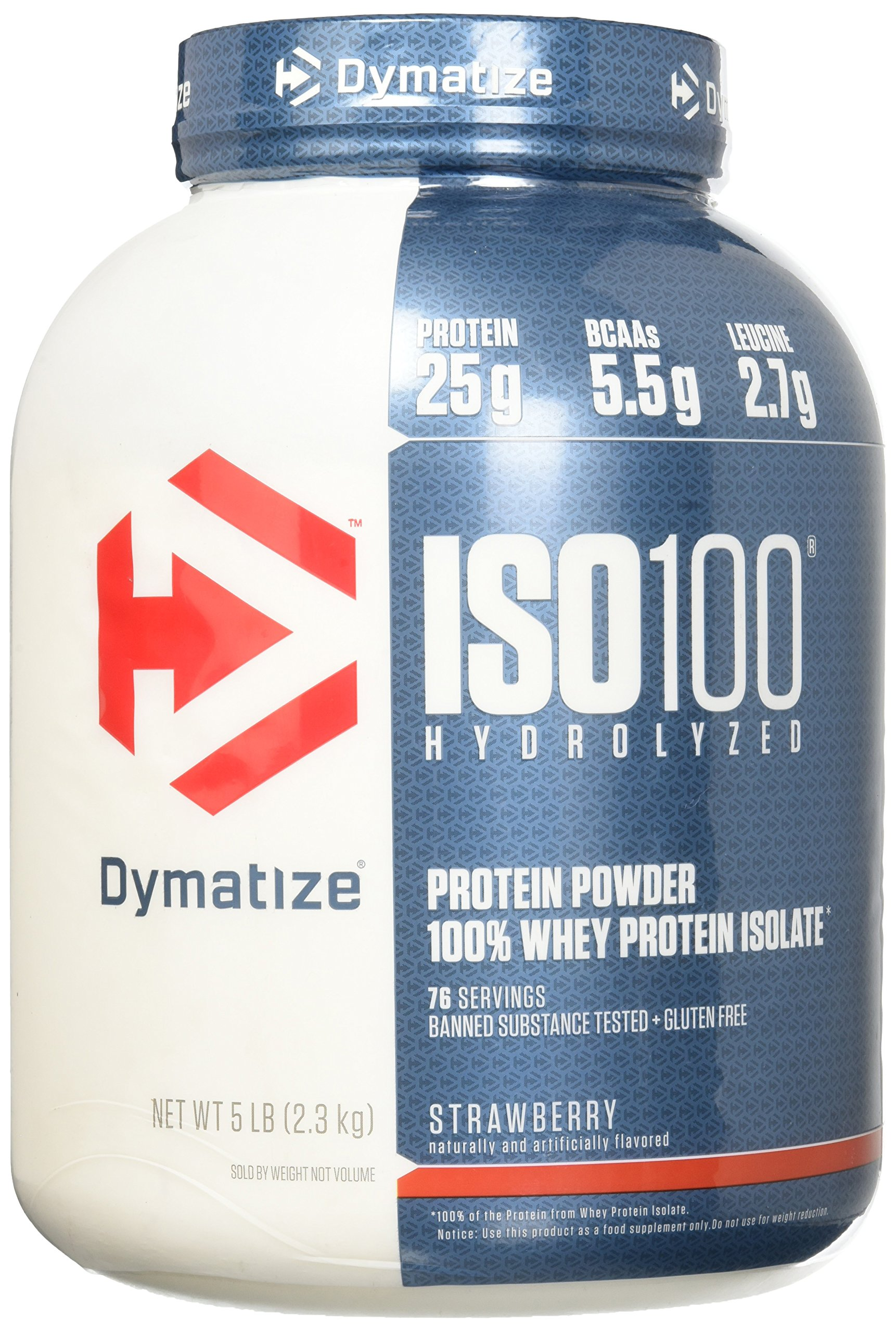 Dymatize ISO100 Hydrolyzed 100% Whey Protein Isolate Strawberry -- 5 lbs