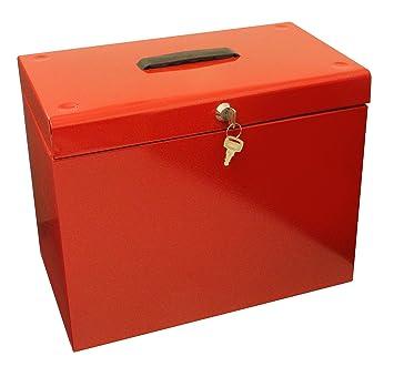 Caja archivadora de metal, tamaño A4, color rojo: Amazon.es: Oficina y papelería
