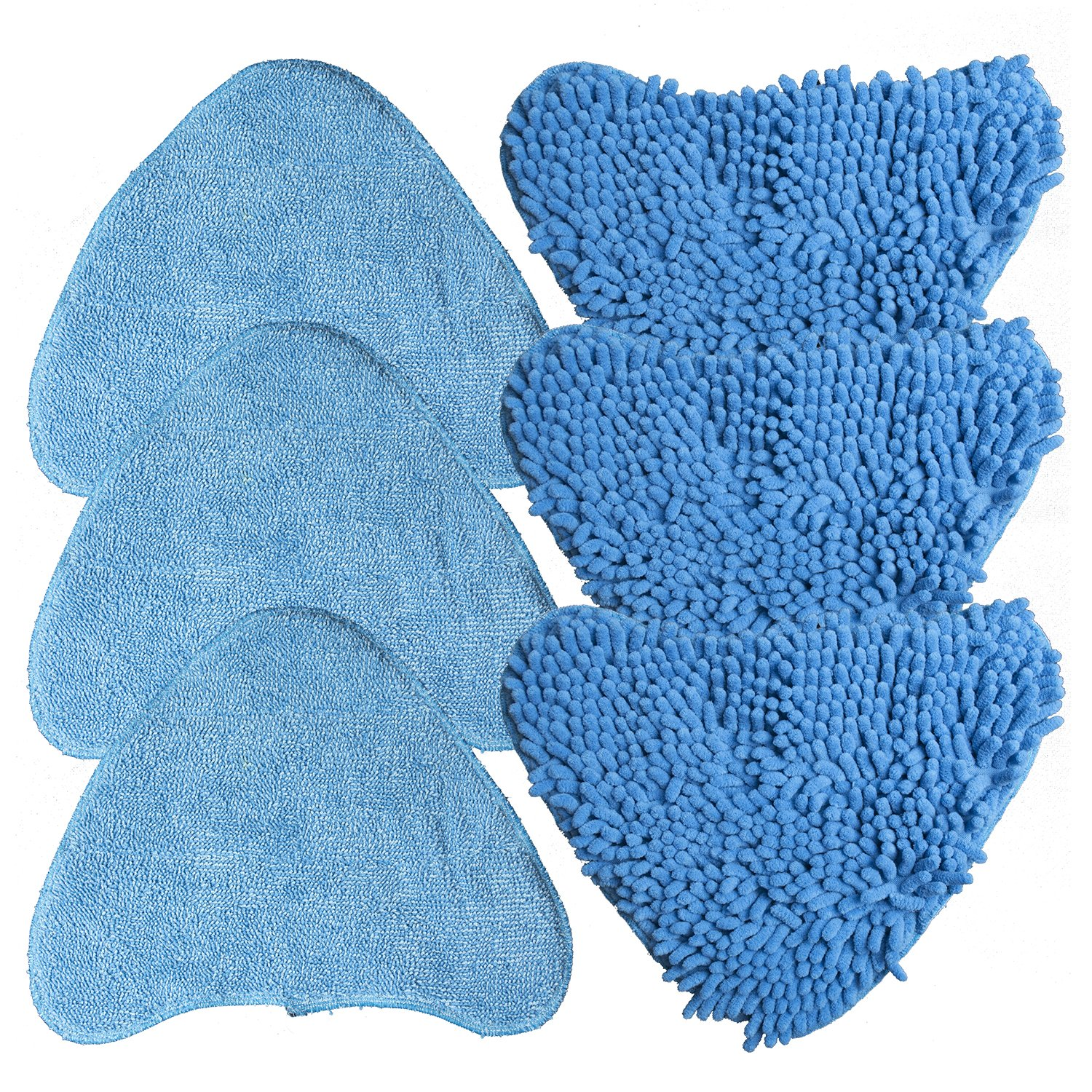 Washable Long Lasting Velcro Fixing Pack of 6 Steam Mop Replacement Pads (3 x Microfibre Pads, 3 x Coral Microfibre Pads) compatible with VAX s7 TaylorHe
