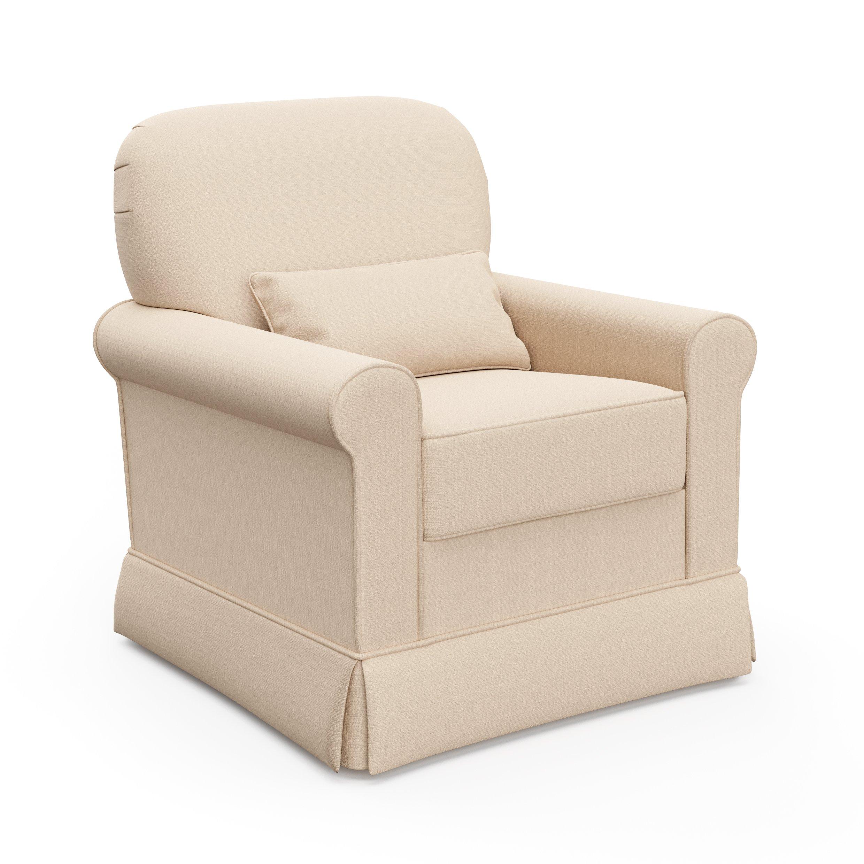 Storkcraft Avalon Upholstered Swivel Glider, Desert Sand, Cleanable Upholstered Comfort Rocking Nursery Swivel Chair