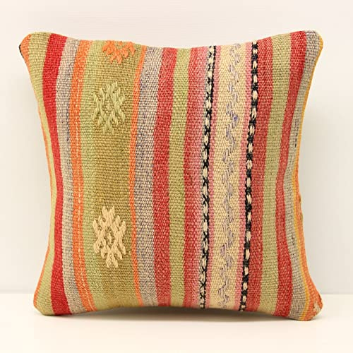 Bohemian Kilim Pillow Cover 12x12 Inch (30x30 Cm) Small Kilim Pillow Cover  Sofa Decor