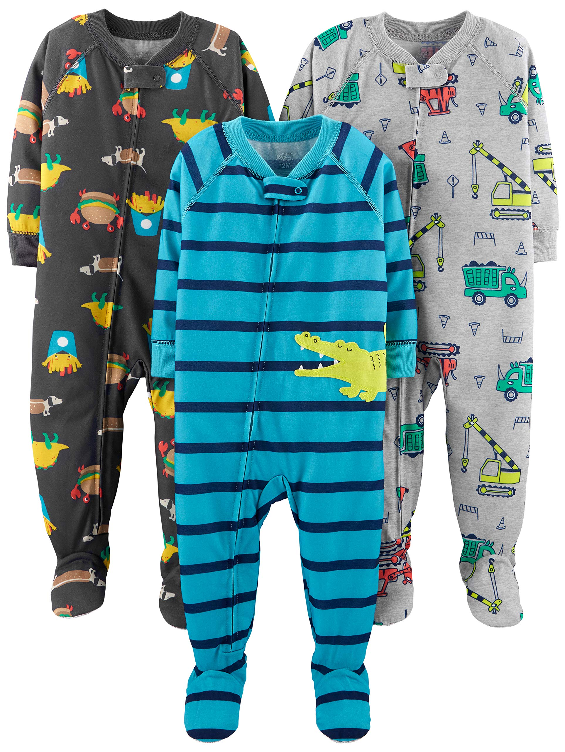Simple Joys by Carter's Boys' 3-Pack Loose Fit Flame Resistant Polyester Jersey Footed Pajamas, Food/Trucks/Alligator 18 Months by Simple Joys by Carter's (Image #1)