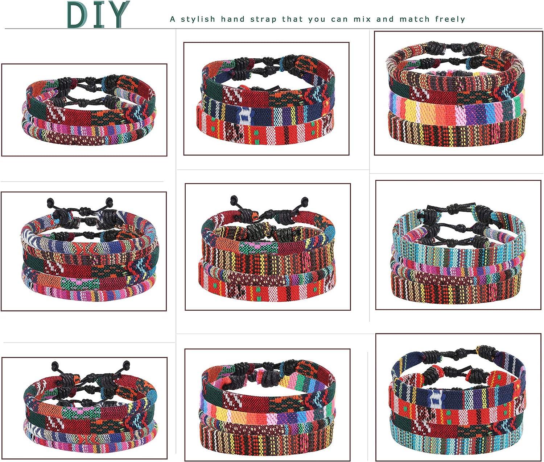 LOYALLOOK 24pcs Men Women Linen Hemp Cords Wood Beads Ethnic Tribal Bracelets Leather Wristbands Friendship Bracelet For Men Women
