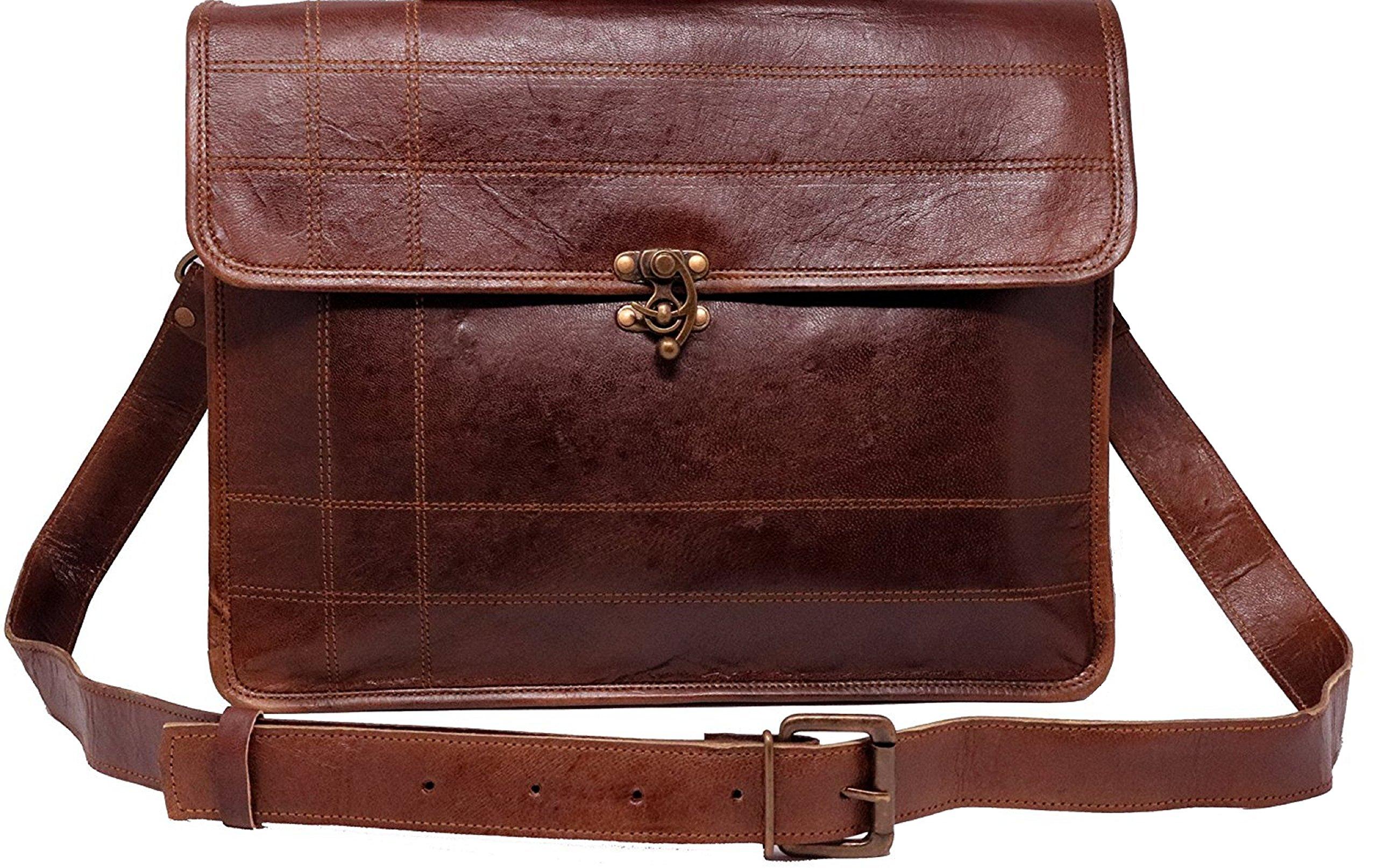 Mens Messenger Bag 15.6 Inch Handmade Vintage Genuine Leather Canvas Lining Briefcase Large Satchel Shoulder Bag Rugged Leather Computer Laptop Bag, Brown
