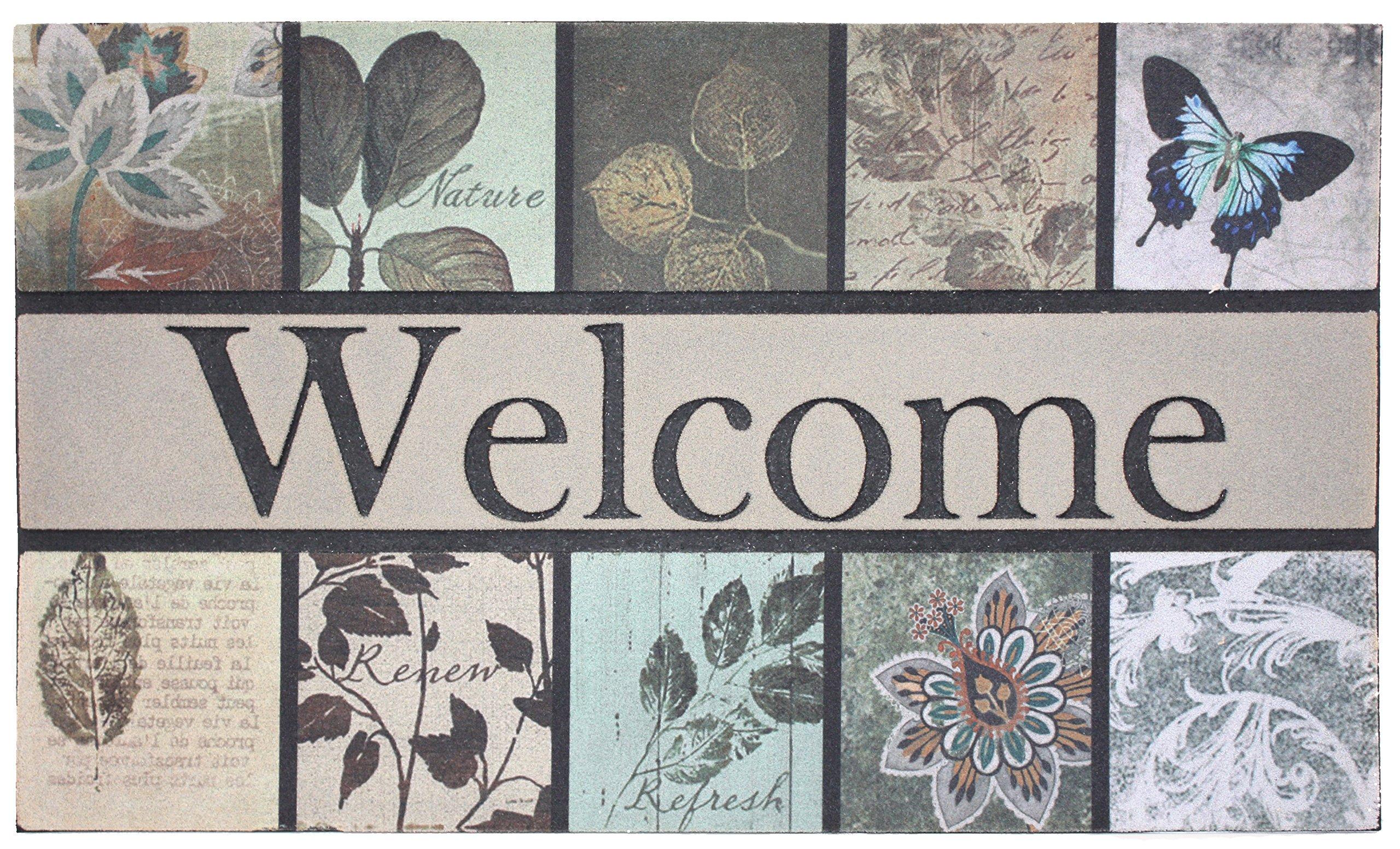 J&M Home Fashions Non-Slip Outdoor/Indoor Printed Flocked Welcome Doormat, 18x30'', Heavy Duty Entry Way Shoes Scraper Patio Rug Dirt Debris Mud Trapper Waterproof-Botanical Garden