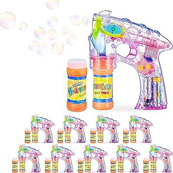 Relaxdays Pack 10 Pistolas Pompas con LED y 20 Botes de Jabón, Plástico, Transparente, 18 x 5 x 14 cm: Amazon.es: Juguetes y juegos