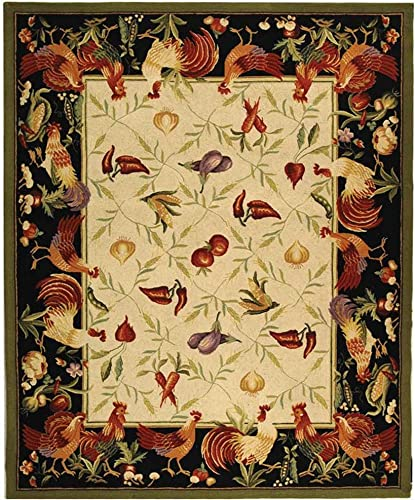 Safavieh Chelsea Collection HK94A Hand-Hooked Ivory and Black Premium Wool Area Rug 8 9 x 11 9