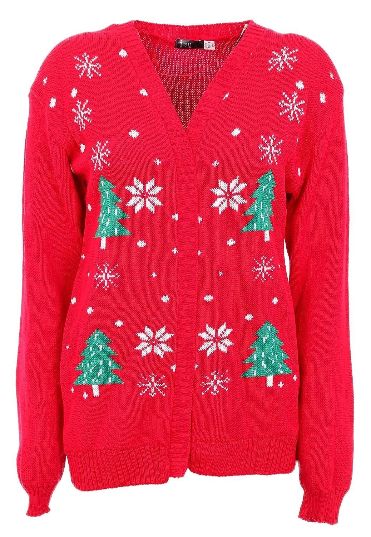 Nuovo per bambini ragazze Renna Natale Albero di Natale Inverno Cardigan Taglia 5 –  14