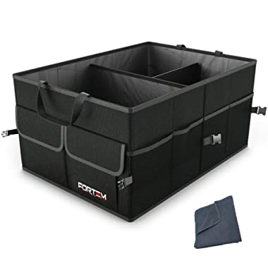 FORTEM Car Trunk Organizer for SUV Truck | Auto Durable Collapsible Cargo Storage | Non Slip Bottom Strips to Prevent Sliding