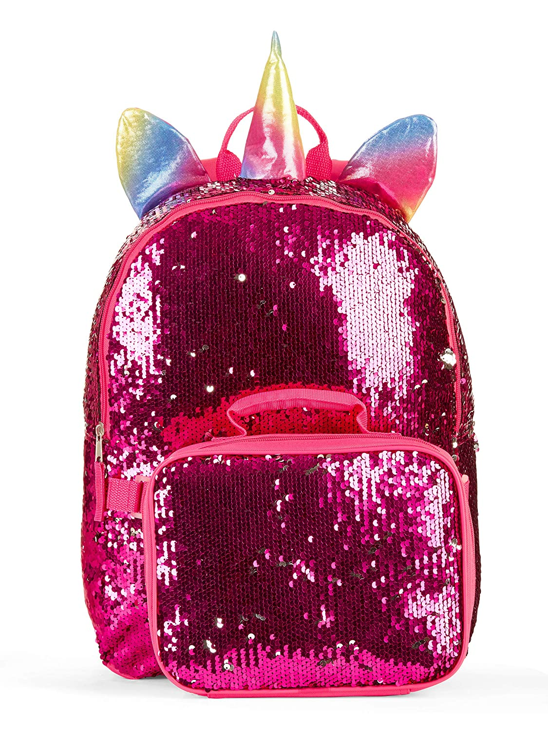 Wonder Nation Unicorn 16 Backpack and Lunch 2 Way Sequin Pink Critter Set