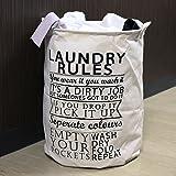 HOKIPO 63-Litre 'Laundry Rules' Folding Round Laundry Bag. (White)