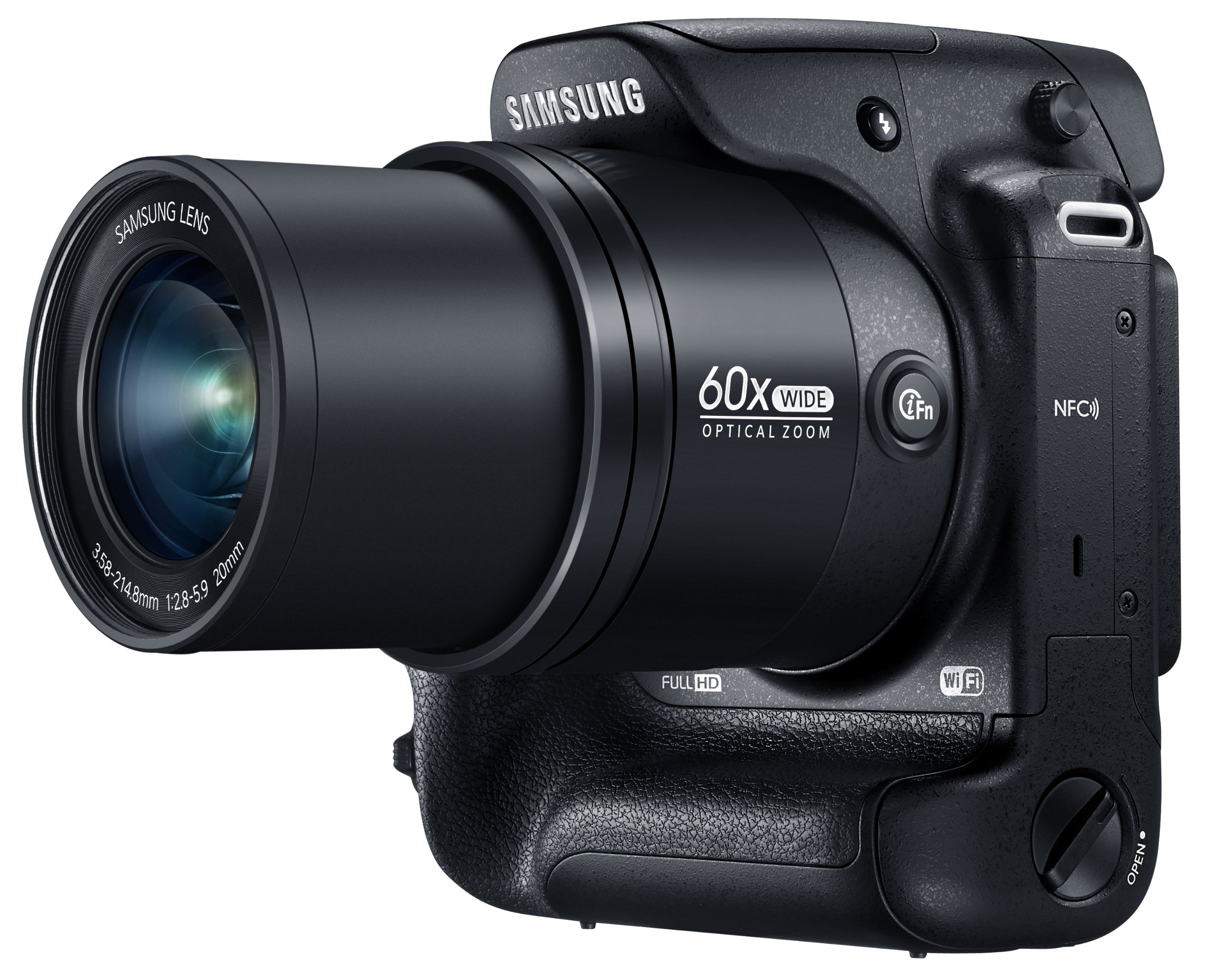 Samsung WB2200F 16.3MP CMOS Smart WiFi & NFC Digital Camera with 60x Optical  Zoom, 3.0'' LCD and 1080p HD Video (Black) by Samsung (Image #1)