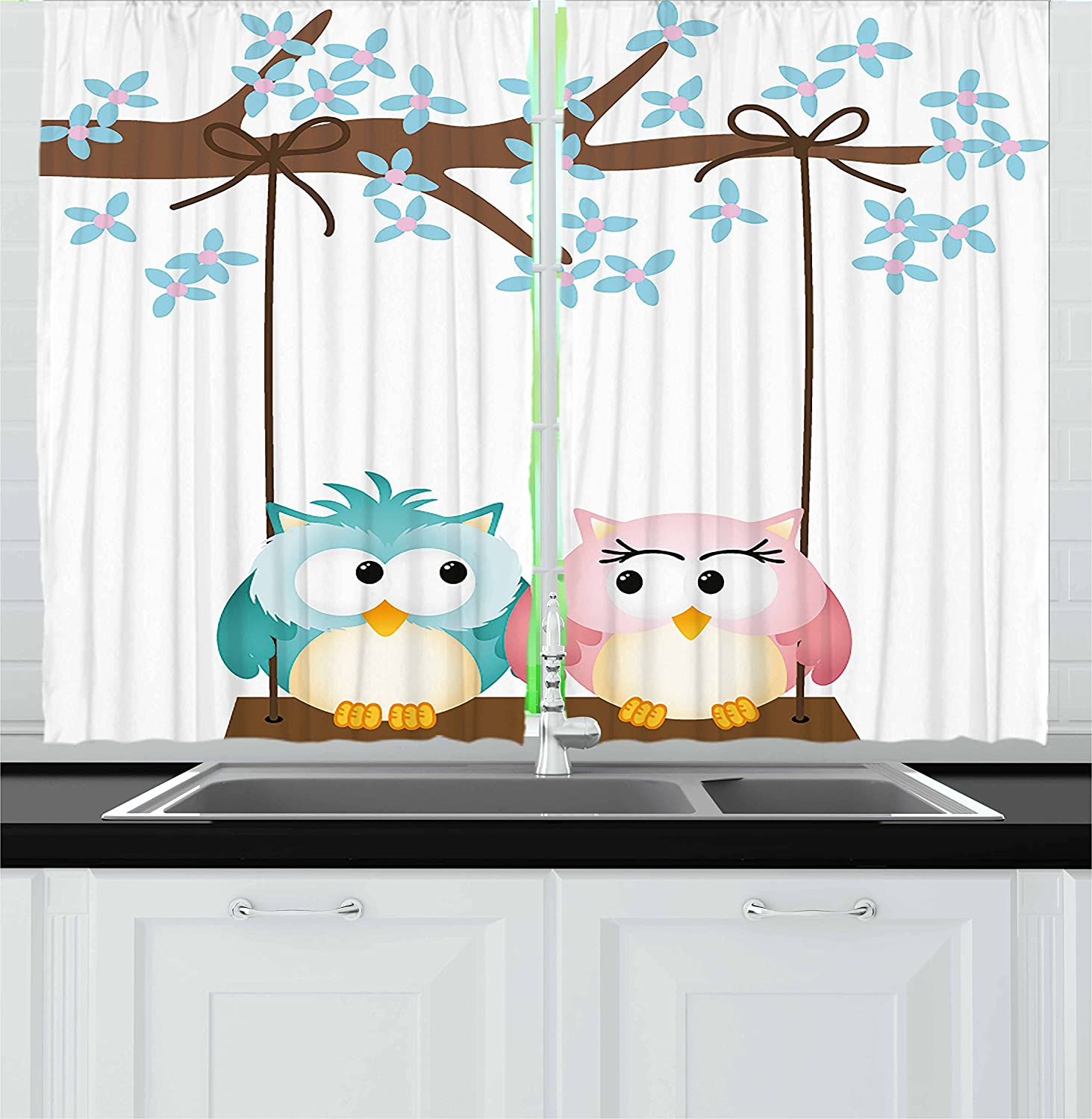 """Ambesonne Nursery Kitchen Curtains, 2 Owls in Love on a Swing Blossoming Tree Branch Spring Romance, Window Drapes 2 Panel Set for Kitchen Cafe Decor, 55"""" X 39"""", Pale Blue"""