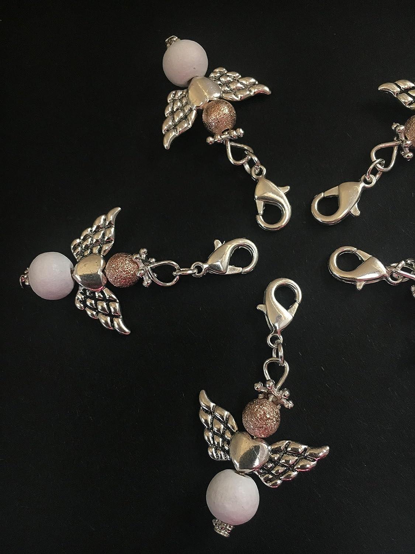 5 stylische Perlenengel mit Karabinerhaken, handmade, Schutzengel, Anhänger Anhänger
