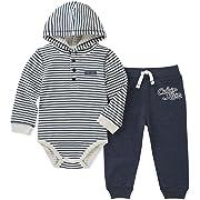 Calvin Klein Baby Boys' 2 Pieces Bodysuit Pant Set, Vanilla/Navy, 0-3 Months