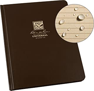 """product image for Rite In The Rain Weatherproof Hard Cover Notebook, 6.75"""" x 8.75"""", Brown Cover, Universal Pattern (No. 470F-LG)"""