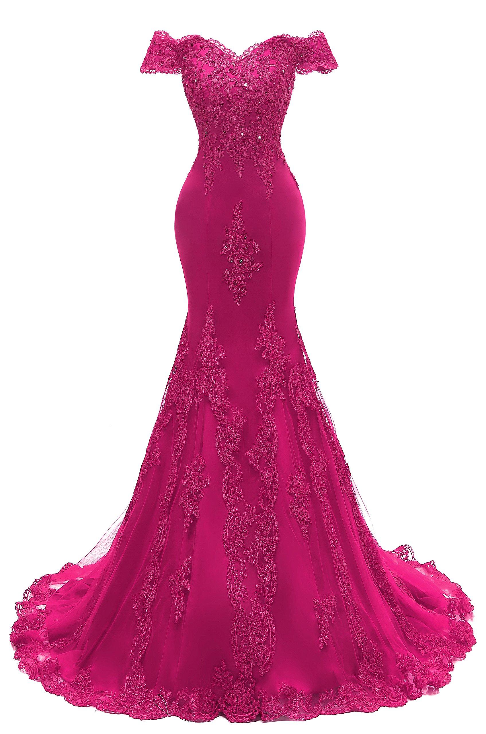 Himoda Women's V Neckline Beaded Evening Gowns Mermaid Lace Prom Dresses Long H074 16 Fuchsia