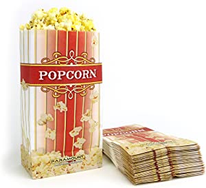 500 Popcorn Serving Bags - 'Small' Standalone Flat Bottom Paper Bag Style