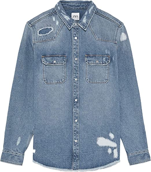 Zara 2631/350 - Camiseta de Mezclilla para Hombre Azul Azul Large ...