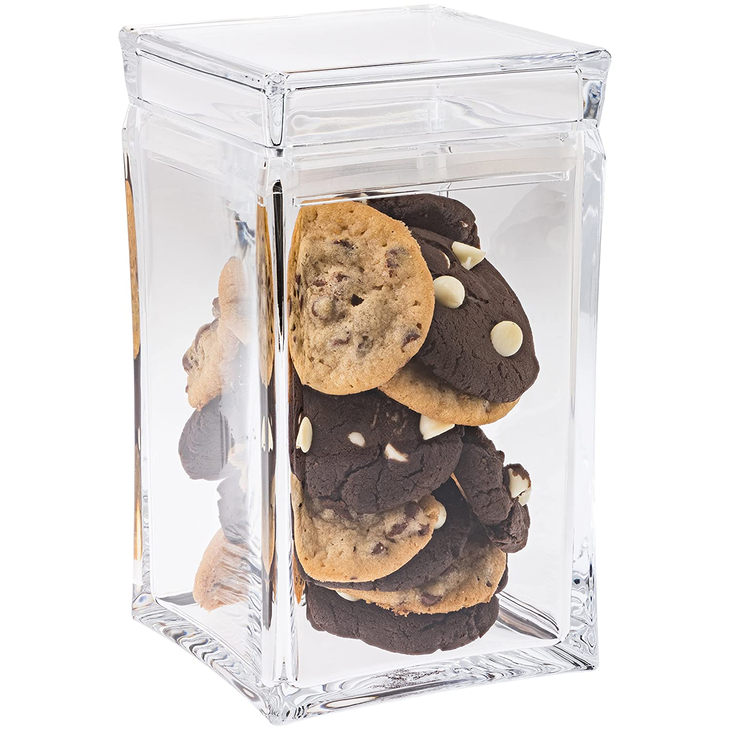 Cookie Jar with Lid – Cookie Container , Airtight , Clear Plastic , Square Shaped in Premium Acrylic (Large Size) Tablesto
