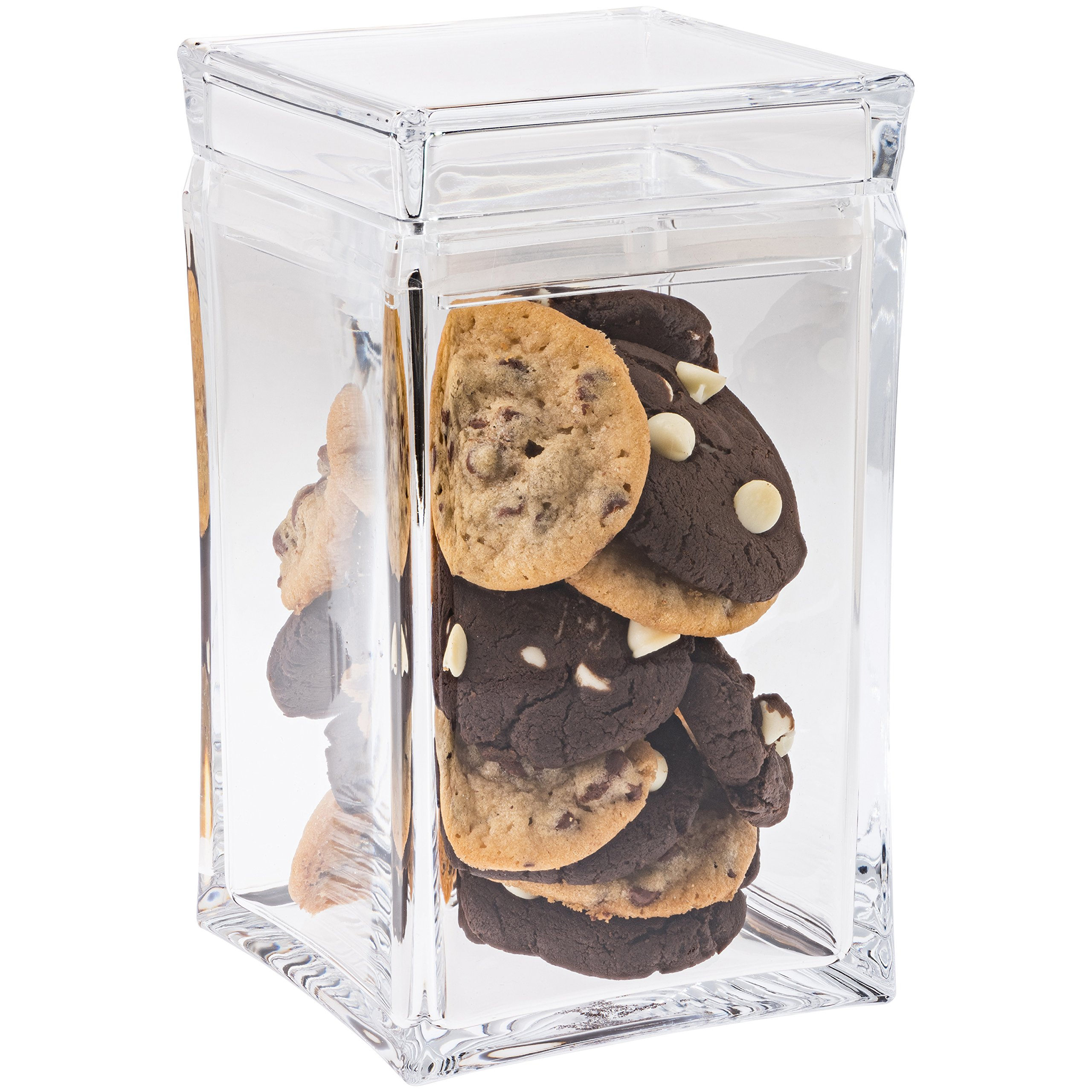 Cookie Jar with Lid – Cookie Container , Airtight , Clear Plastic , Square Shaped in Premium Acrylic (Medium Size)