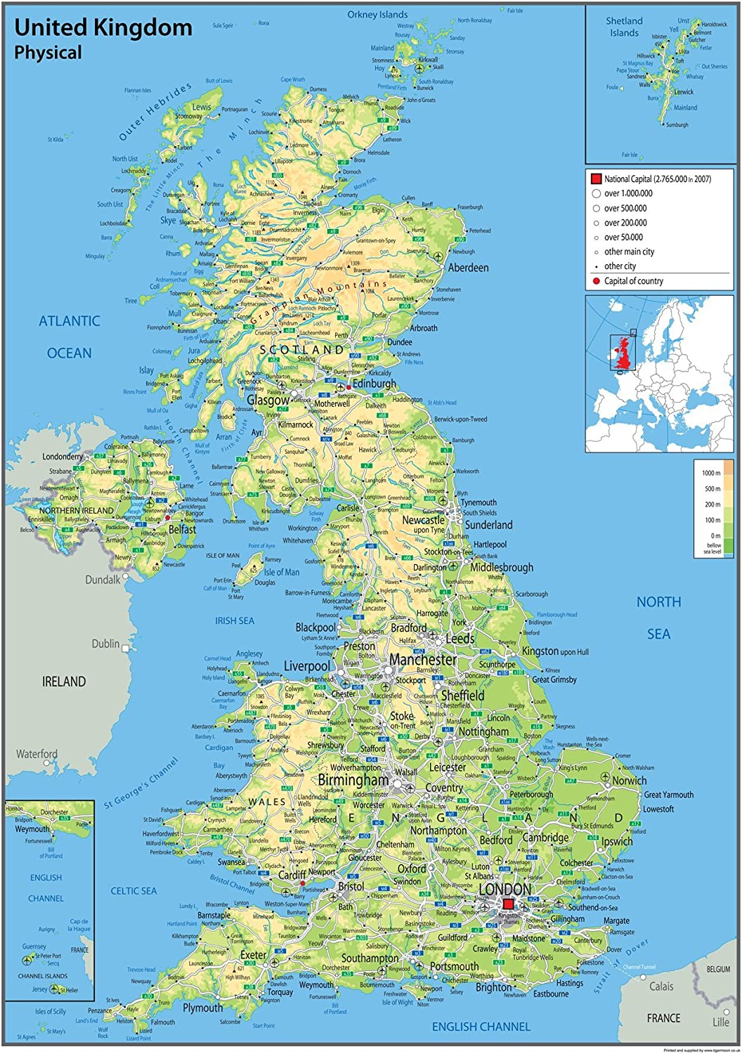 United Kingdom Uk Map Physical 59 4 X 84 1 A1 Centimetres Paper Laminated For Use In Classroom Office And Home Ga Amazon Co Uk Office Products