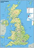 A0 Paper Laminated UK Physical Map [GA] - Giant Size!