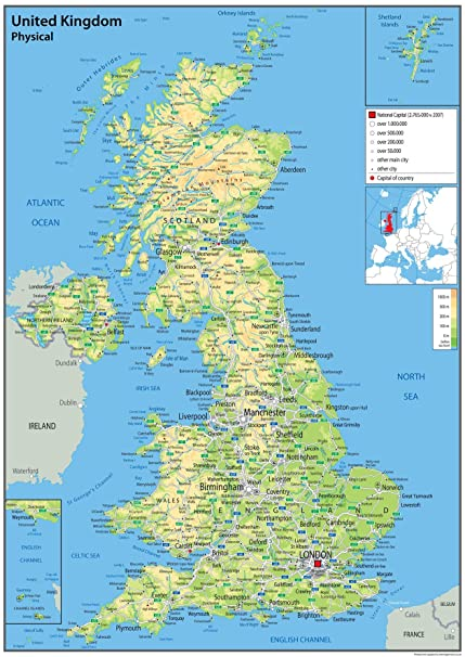Image Of Uk Map.United Kingdom Uk Wall Map Physical 59 4 X 84 1 A1 Centimetres Paper Laminated For Use In Classroom Office And Home Ga