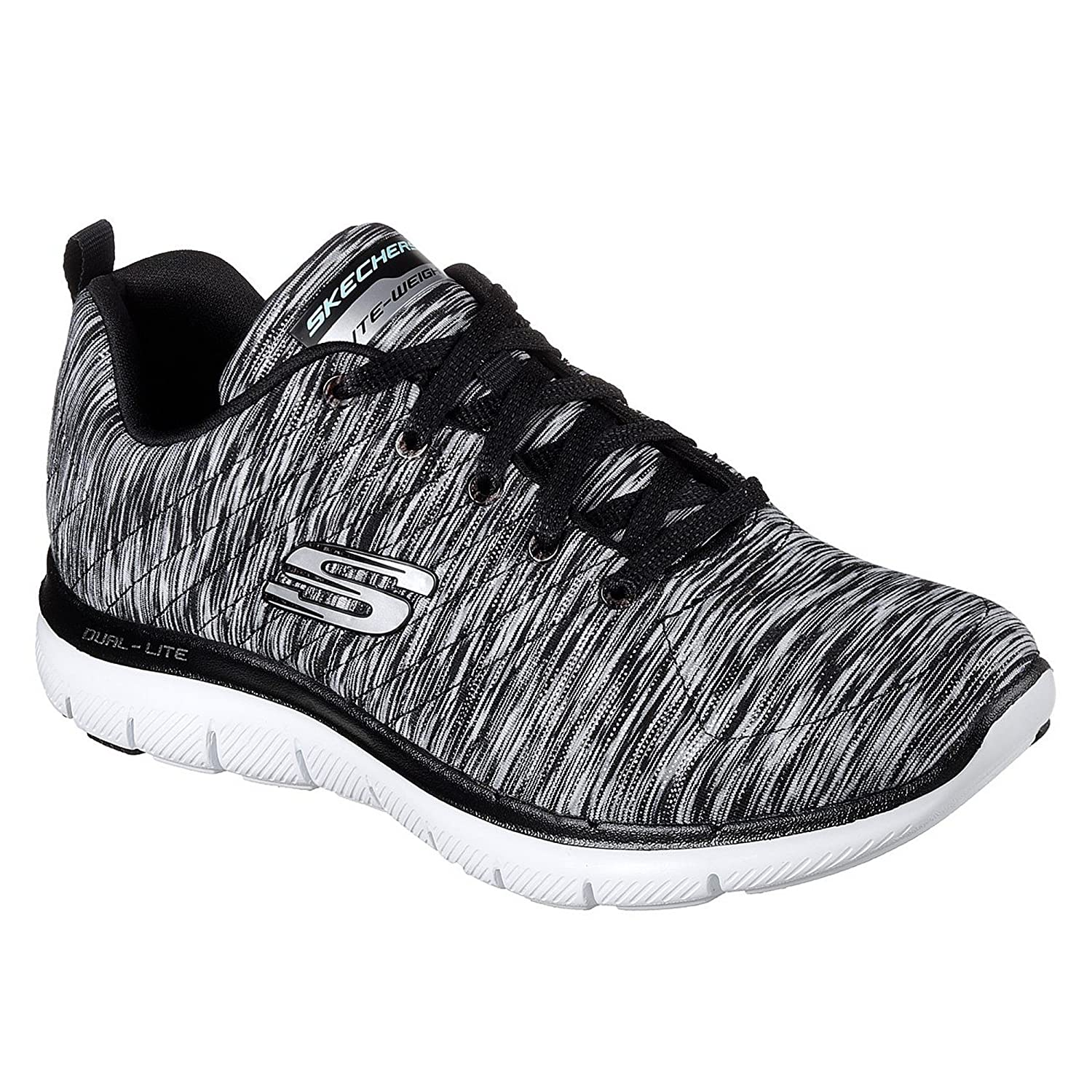 Skechers Flex Appeal 2.0-Reflection, Zapatillas para Mujer 40 EU|Negro /Blanco