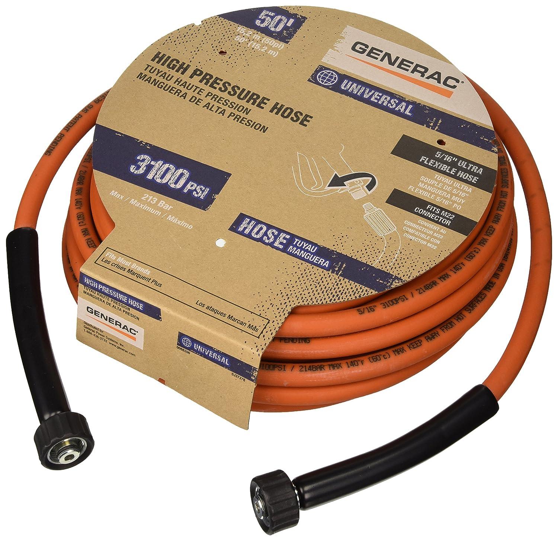 Generac 6620 Pressure Washer Hose, 50-Feet x 5/16-Inch, Orange