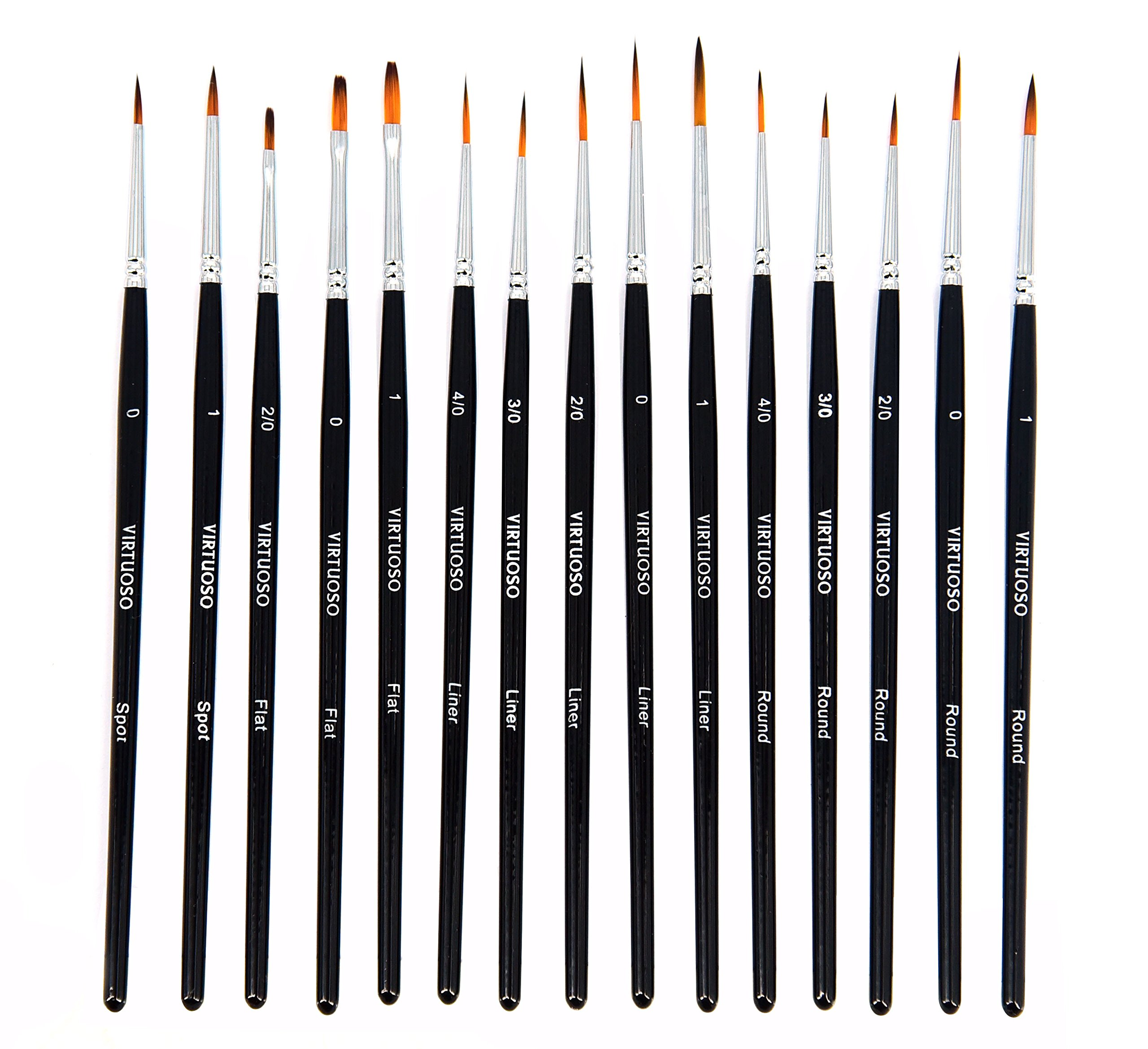 Virtuoso 15-Piece Fine Paintbrushes, Handmade Detail Paint Brush Set - for Acrylic, Watercolor, Oil - Includes Deluxe Carry-Case by Virtuoso