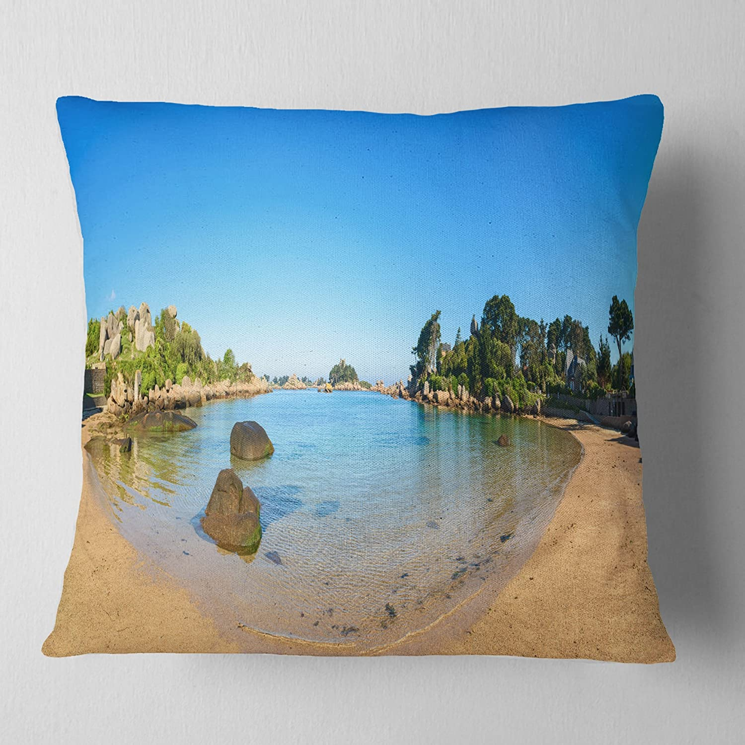 Designart CU11335-26-26 Ploumanach Rocks and Beach Morning' Landscape Wall Cushion Cover for Living Room, Sofa Throw Pillow 26 in. x 26 in. in, Insert Printed On Both Side