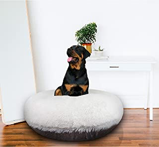 """product image for BESSIE AND BARNIE Signature Snow White/Serenity Grey Luxury Extra Plush Faux Fur Bagel Pet/Dog Bed SM - 30"""""""