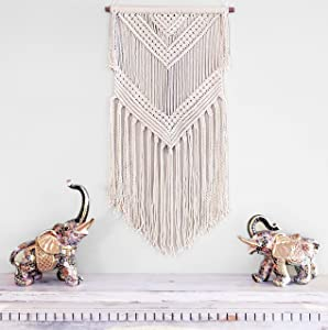 Livalaya Boho Macrame Woven Wall Hanging Beige 16 in x 36 in Modern Bohemian Tapestry wall Art Decor for House, Apartment, Dorm, Bedroom, Nursery, Party Decorations, Wedding, Wall Ornament