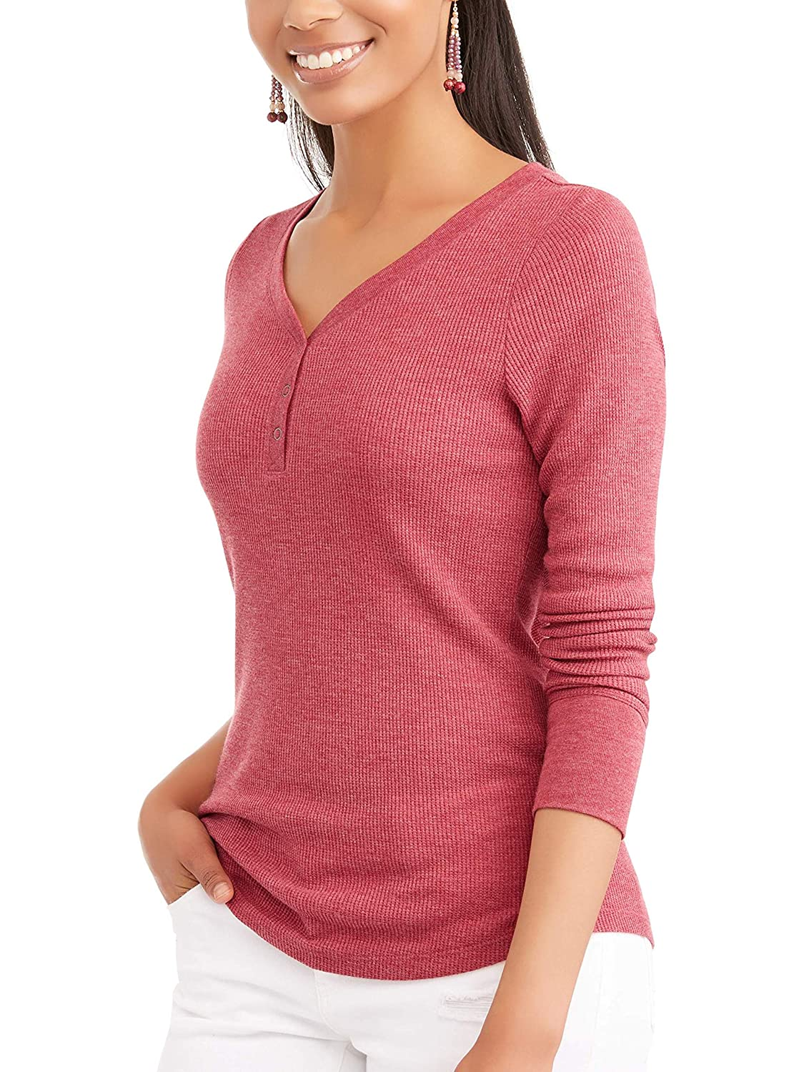 Red Mark Heather Time and Tru Women's Long Sleeve Thermal Henley