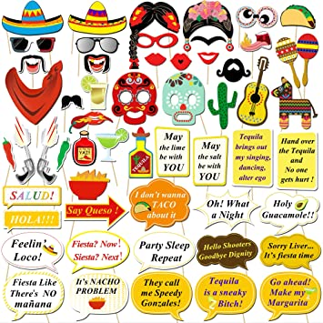 Konsait Fiesta Mexicana Photo Booth Props Cabina de Fotos Accesorios Photocall Gafas máscara Sombreros para Cinco de Mayo Mejicano Fiesta de ...