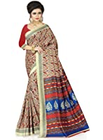 e-VASTRAM Womens Crepe Printed Art Silk Saree(V3109_Beige)