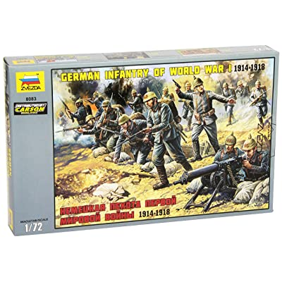 "Zvezda 8083 - German Infantry of World War I 1914-1918 - Unpainted Plastic Soldiers 7 pcs - Scale 1:72 41 Parts 1"": Toys & Games"