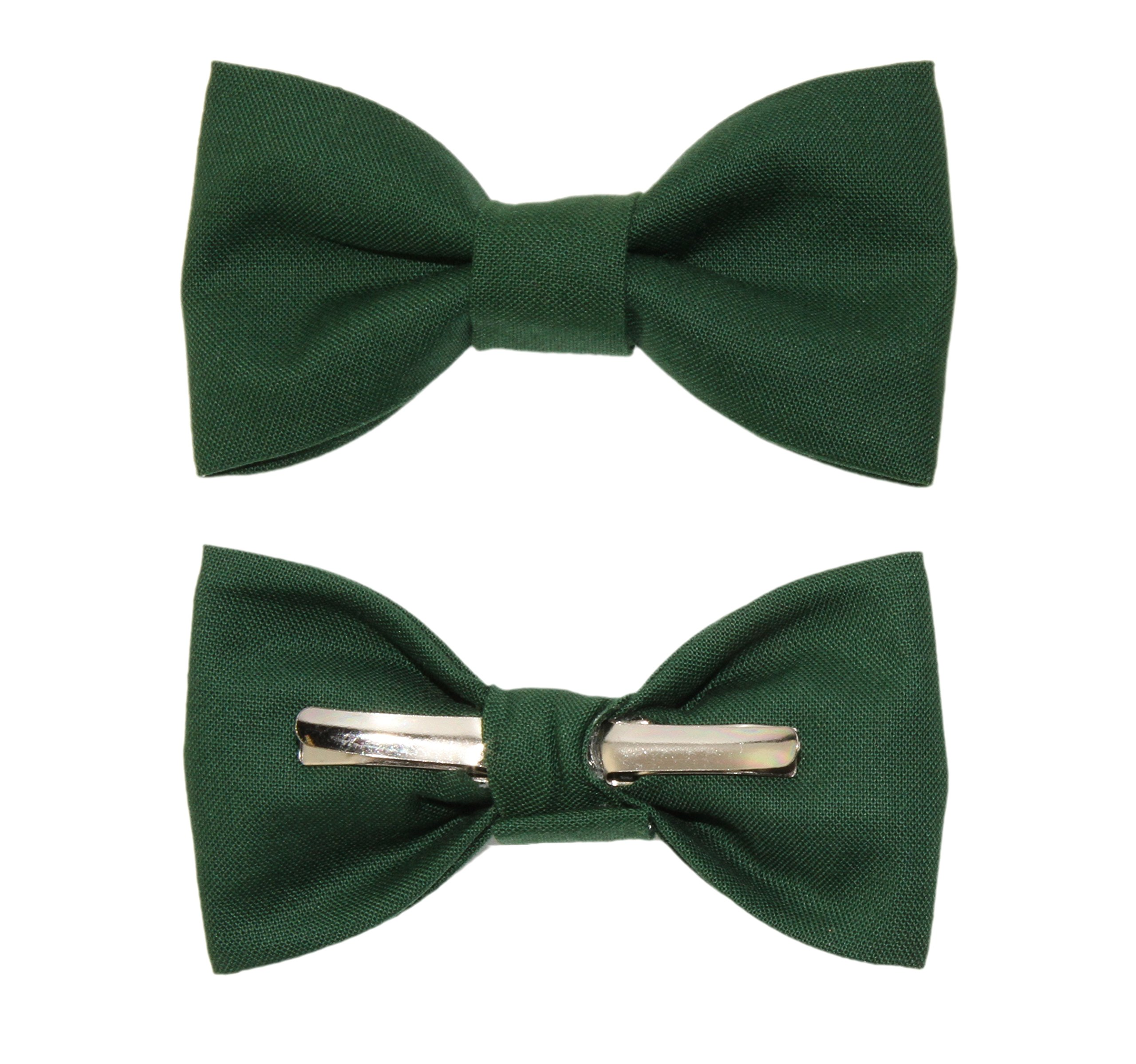 Toddler Boy 4T 5T Forest Green Clip On Cotton Bow Tie - Made In The USA