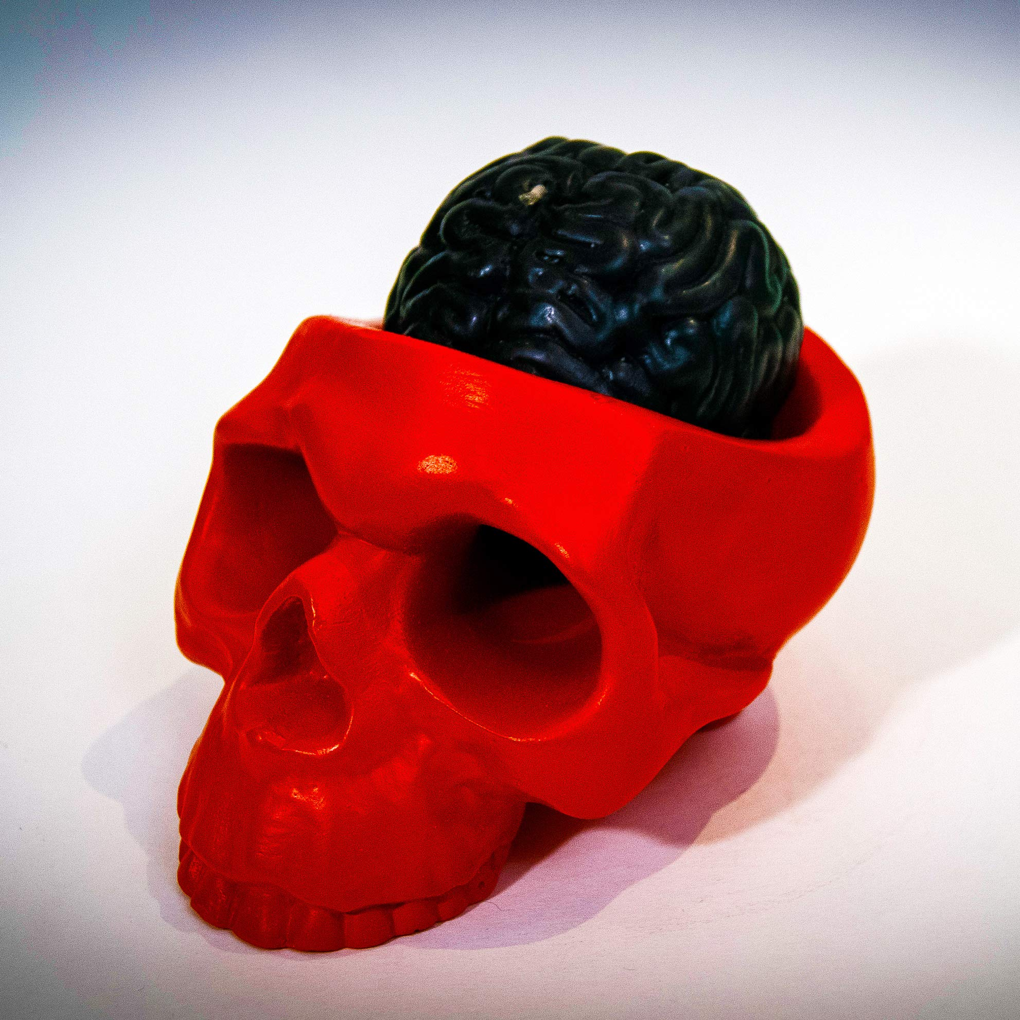 My Geek Things Handmade Novelty Crying Skull Candle Holder with a Brain Candle (Red/Black)